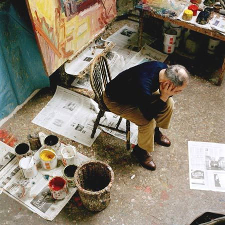 Frank Auerbach. 'Frank works and sleeps in a tiny studio in Camden Town, north London. Now aged 77 and with his fingernails full of years of paint, he has little time even for old friends, because he feels he is running out of time.'
