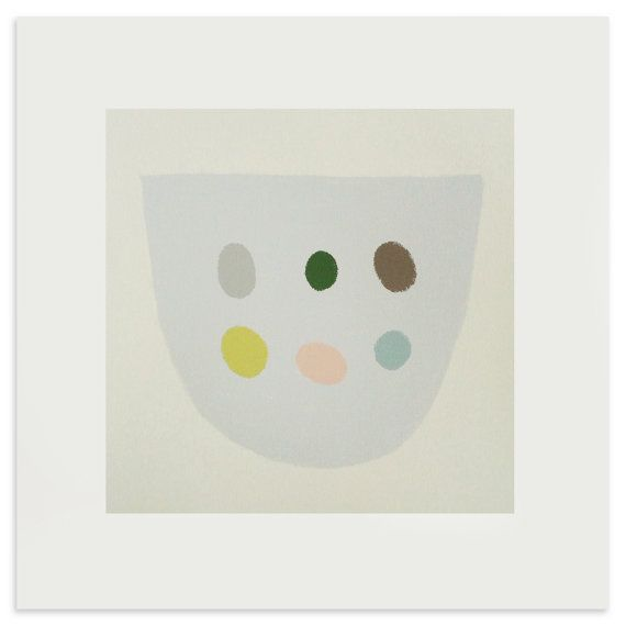 Six Eggs a square abstract original by littleprintpress on Etsy, £45.00 Emma Lawrenson