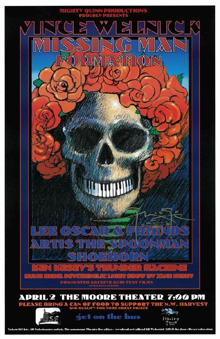 Original concert poster for Vince Welnick and Missing Man Formation in San Francisco, CA. Hand-Signed by artist Stanley Mouse. 11 x 17 inches on thin paper.