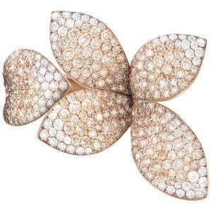 Pasquale Bruni 18K Rose Gold Secret Garden Four Petal Pave Diamond Ring