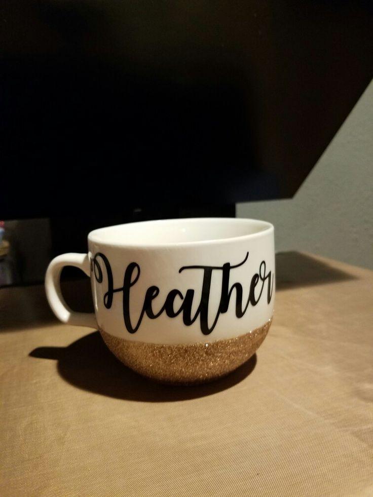 Custom glitter with name mug.