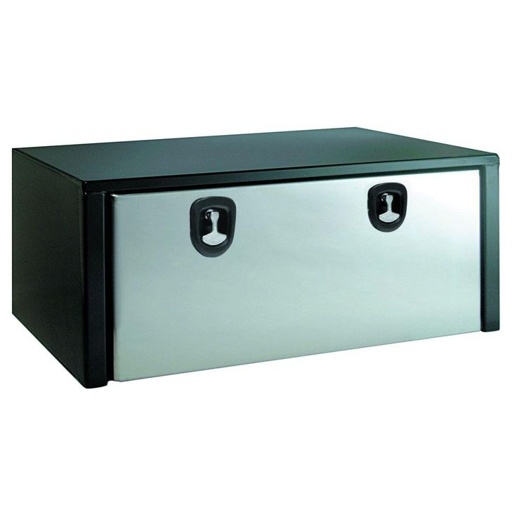 Buyers Products Company 48 in. Black Steel Underbody Tool Box with Polished Stainless Steel Door