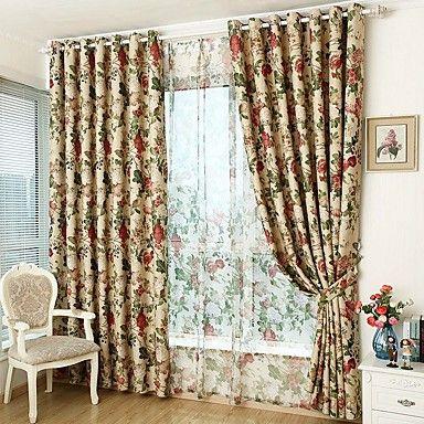 Corredizo Anillo Doble plisado Solo plisado Ventana Tratamiento Rústico , Floral Sala de estar Material Blackout cortinas cortinas 6229530 2017 – $48.44