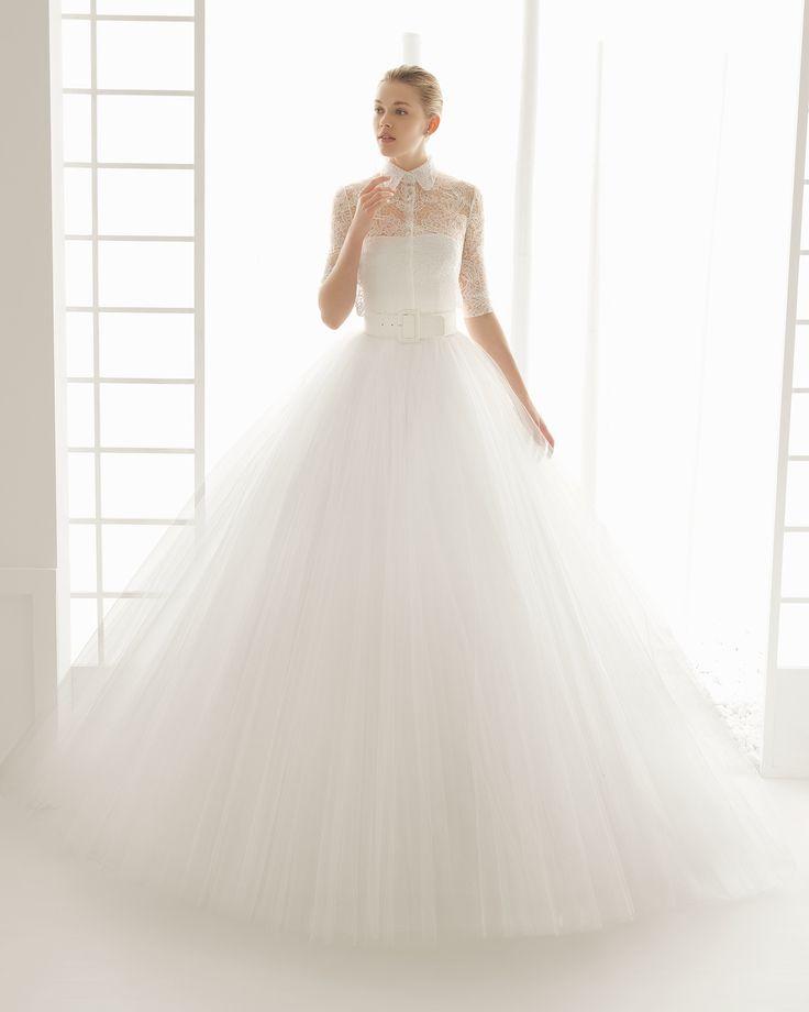 ROSA CLARÁ - DOSEL traje de novia con blusa de malla con body de punto y  falda  de  tul  con cinturon  de raso algodon.