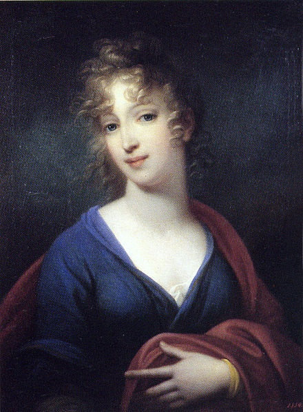Grand Duchess Elena, daughter of Pavel I, by Josef Grassie, 1802. Pavlovsk Palace. She died in 1803 from tuberculosis at the age of 19. She was said to be very beautiful so her grandmother, the Empress Catherine The Great, named her after Helen of Troy. Elena married Friedrich Ludwig of Mecklenburg at the age of 15, and had 2 children. Her son married Alexandrine of Prussia, daughter of Queen Louise of Prussia.