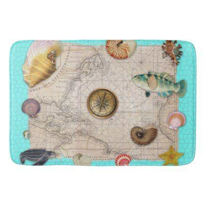 Marine Treasures Beige Vintage Map Teal Bath Mat - unusual diy cyo customize special gift idea personalize