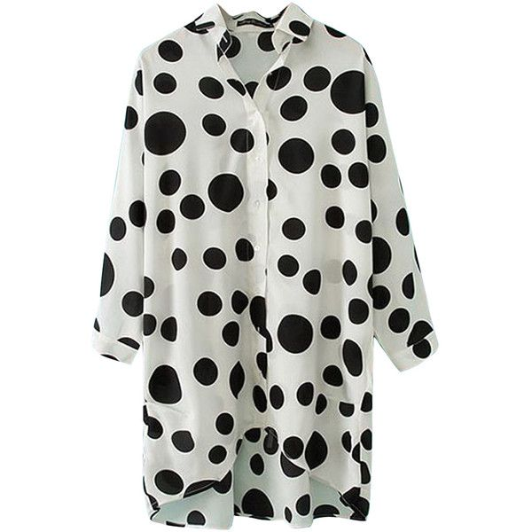 White High Low Batwing Sleeve Polka Dot Ladies Blouse ($17) ❤ liked on Polyvore featuring tops, blouses, white, polka dot blouse, polka dot top, spotted shirt, white polka dot blouse and batwing sleeve shirt