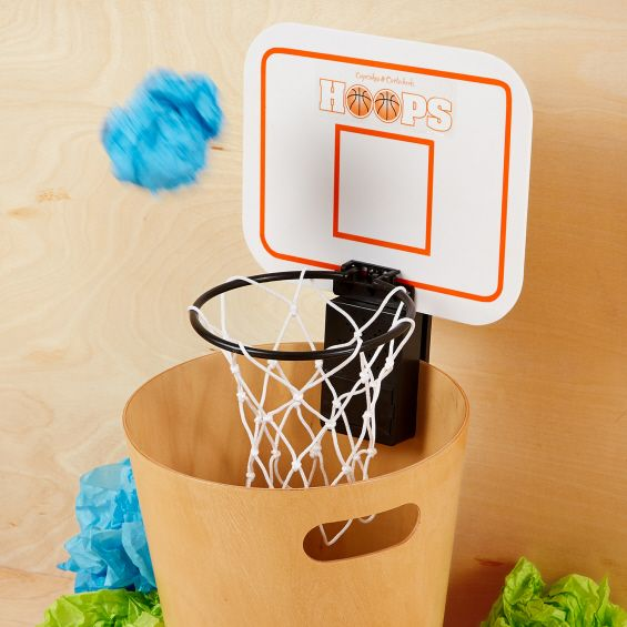 "Basketball Trash Can No one likes a pigsty so make staying clean a ""game"" with this DIY basketball trash can. You don't even have to actually make the hoop and backboard - just tape a net outline onto the wall. It will look trendy, inspire your son to use the trash, and hopefully train him to be the next Lebron James."