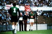 26th May 1982 European Cup Final Rotterdam Aston Villa 1 v Bayern Munich 0 Aston Villa goalkeeper Nigel Spink about to come on to replace the injured...