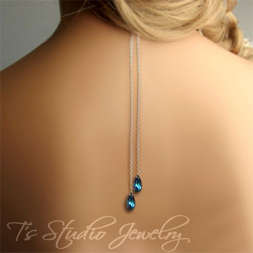 """Backdrop Peacock Teal Blue Crystal Back Drop Bridal Necklace Wedding Jewelry. $90.00, via Etsy. I know it's a little unusual, but it sure would be cool as your """"something blue"""" and it would look amazing below your hummingbird tattoo."""