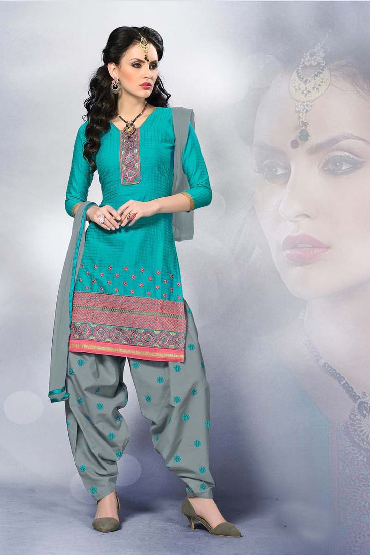 Blue Cotton Punjabi Salwar Suit With Dupatta  My Kinda -4329