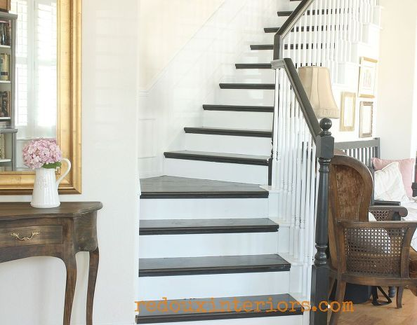 how to paint a staircase black and white with all the details, diy ...