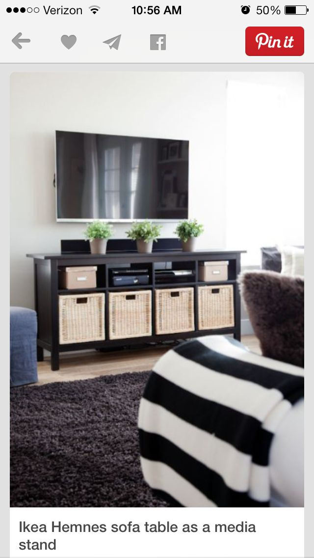 Baskets for storage in tv unit