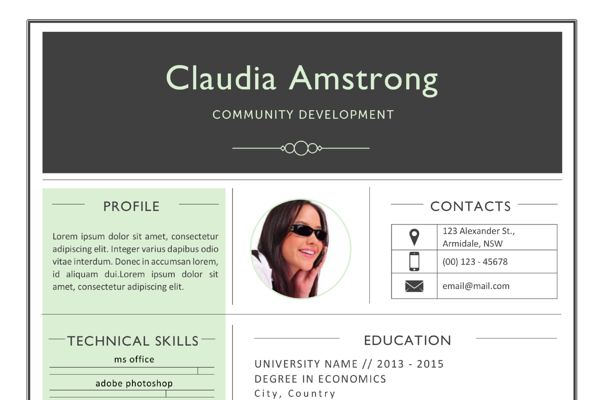 Green photograph resume template - Resumes - 3