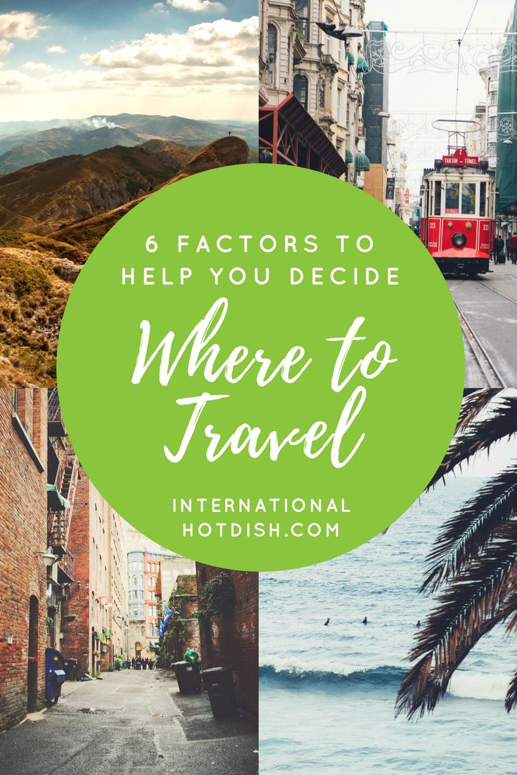 Deciding where to travel can be tough sometimes. We're here to let you know it doesn't have to be overwhelming, and usually you can just go with your gut.  Your finances, budget, language skills, and understanding of global politics will help you decide where you next destination is. http://internationalhotdish.com/2017/09/21/6-factors-help-decide-travel/
