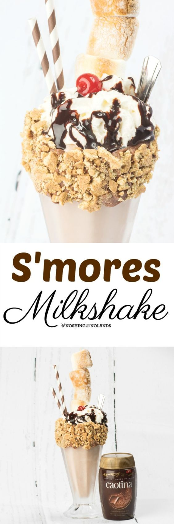 S'mores Milkshake by Noshing With The Nolands is the perfect indulgence to share with a friend! #ad