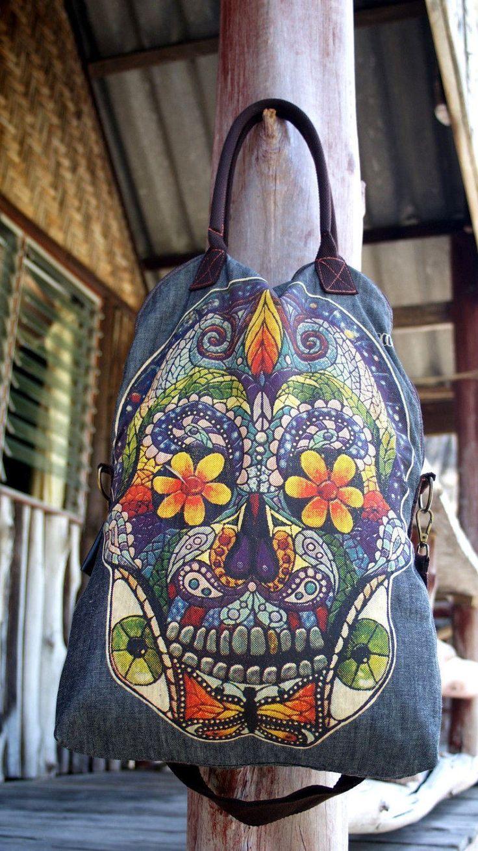 Let's Go! Amazing Weekender Travel Bag Carryall Shoulder Belt Sure Borsa Donna Grande Teschio Cotone Blu Chiaro Doppio Manico Hippie Gipsy di BeHappieWorld su Etsy