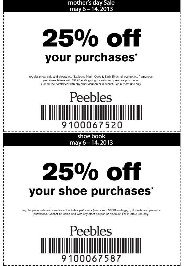 peebles discounts coupons