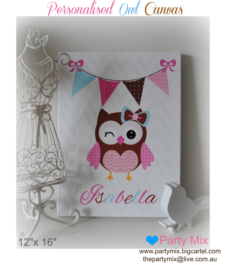 """Personalised Owl 12x16"""" canvas"""