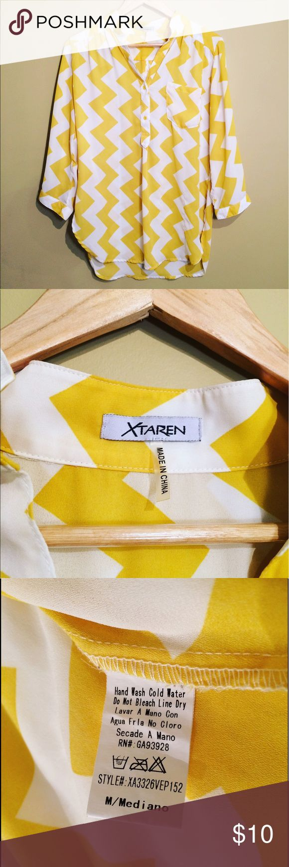 Xtaren White and Yellow Chevron Blouse White and mustard color chevron pattern Blouse. Very light Sheer material. No stains, very well taken care of. Size medium but can also fit small and large. Perfect for spring and summer. xtaren  Tops Blouses