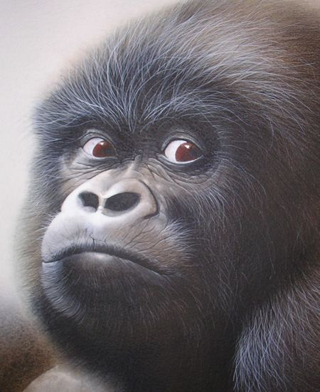 "Gorilla  -  Re-named ""Adrian"", a popular cross-stitch design at http://www.geckorouge-gallery.com Copyright © David Finney 2013 | Mechweb Design"