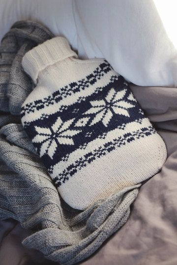 Hot water bottle cover using motifs from 150 Scandinavian Motifs by Mary Jane Mucklestone - knitting project