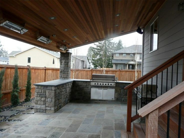 Covered Outdoor Kitchens | Outdoor Kitchen Right Outside The Back Slider  Door With Heaters Right .