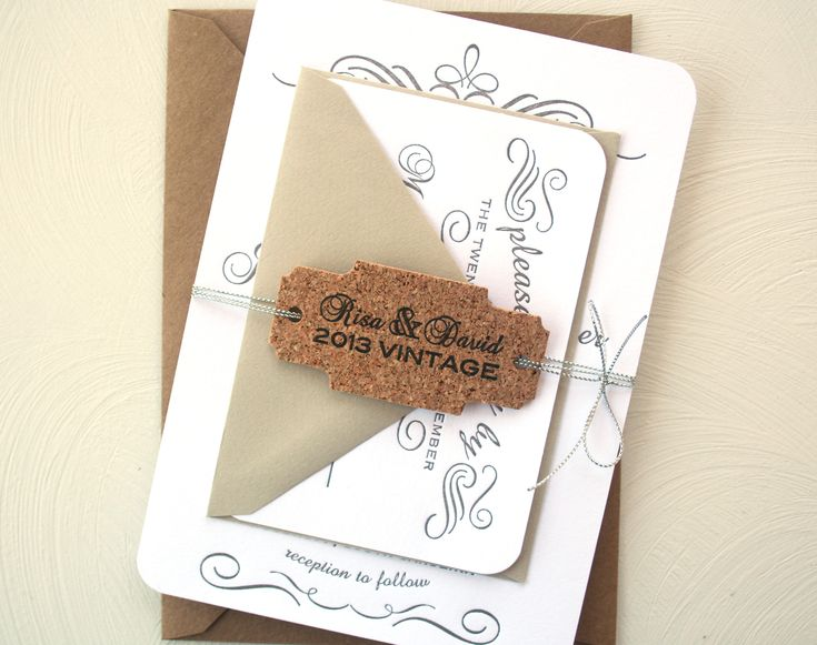Wedding Invitations Wine Cork Theme | ... Letterpress Wedding Invitation  Suite: Grey And