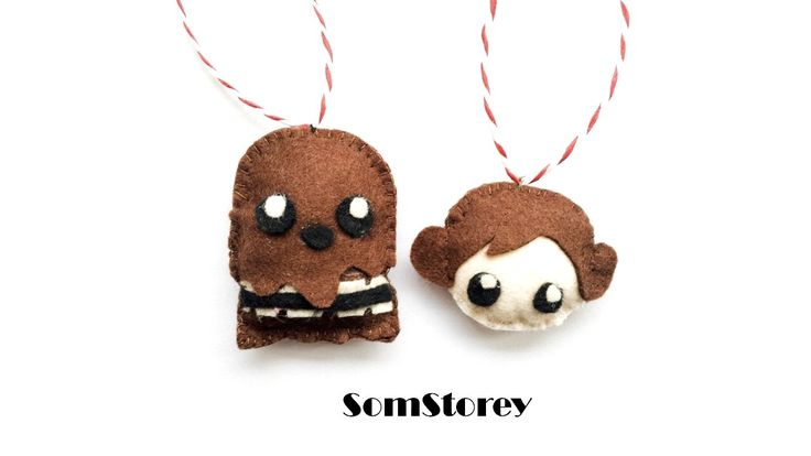 Star Wars Decorations, Christmas tree ornaments, handmade felt decoration Chewbacca Princess Liea by SomStorey UK.