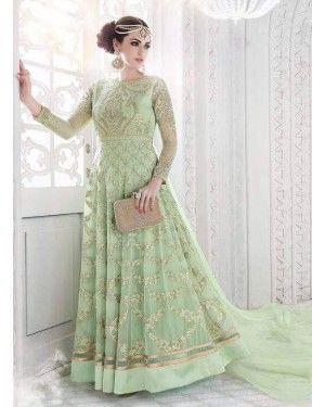 Greenish Embroided Anarkali Dress