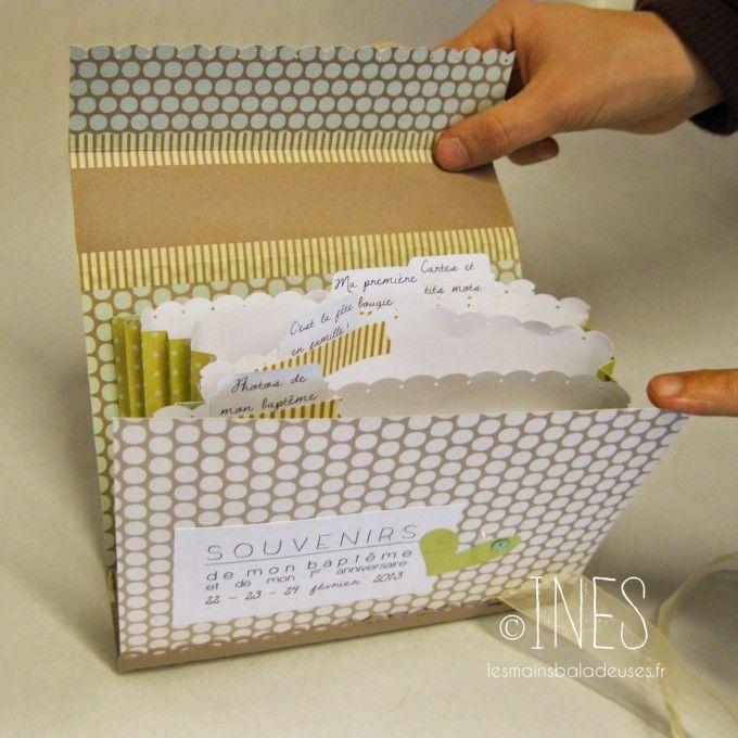 Valise scrapbooking personnalisable baptême petit garçon. / Customized baptism gift box. http://lesmainsbaladeuses.fr/les-mains-bricolent-valise-souvenir-bapteme-bebe-garcon-en-scrapbooking-fimo/