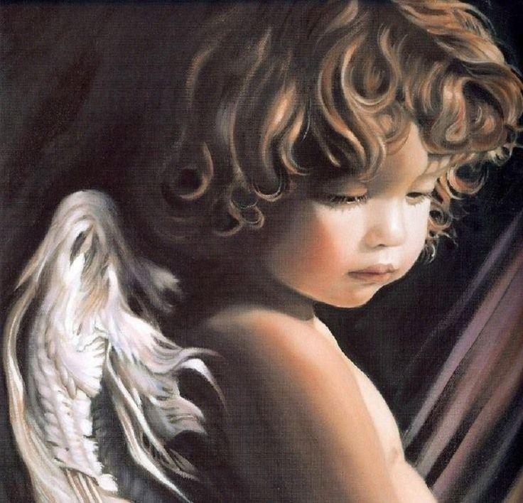 white - child - angel - painting - Nancy Noel