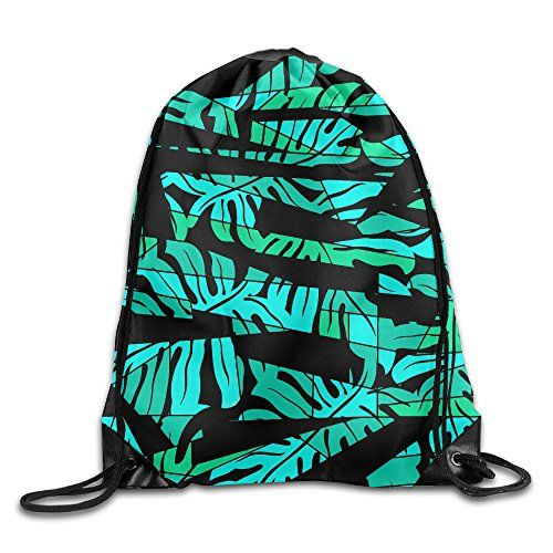 KKWONG Abstract Surf Palm Leaf Pattern Drawstring Backpack For Traveling Or Shopping Casual Daypacks School Bags Unisex
