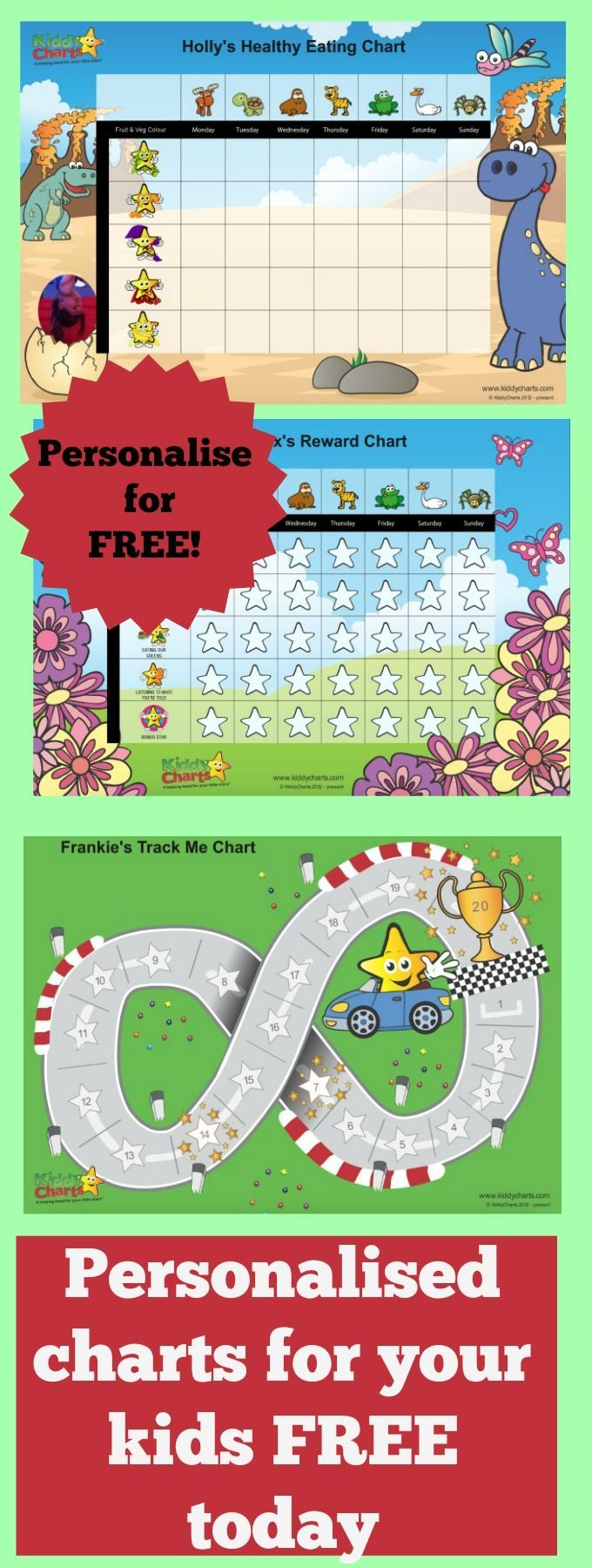 We have some gorgeous FREE designs for you for reward charts, progress charts, five a day charts, and even charts that help to reduce separation anxiety. If its a reward chart or behavior chart you want, then we've got it! Ass your child's photo and away you go, all at the touch of a button.