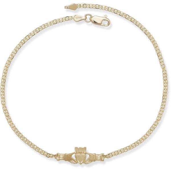 14k Yellow Gold 10-inch Irish Claddagh Anklet ($215) ❤ liked on Polyvore featuring jewelry, gold, 14k gold anklet, 14 karat gold jewelry, chains jewelry, gold anklet and white gold anklet