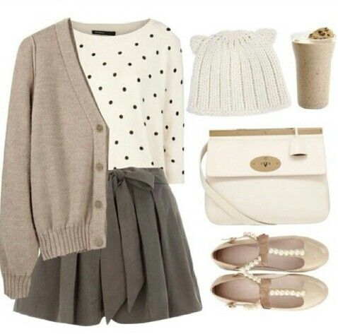Falda gris. Conjunto de otoño