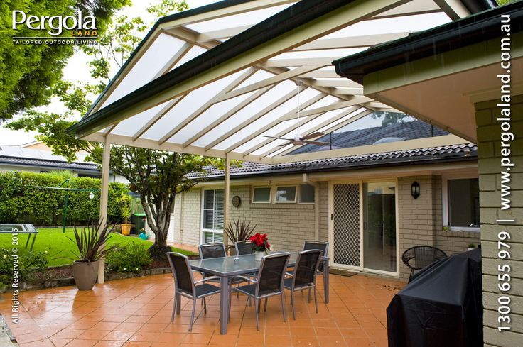 This pergola has been designed to keep the light during cloudy rainy days and provide heat protection during hot summer days.