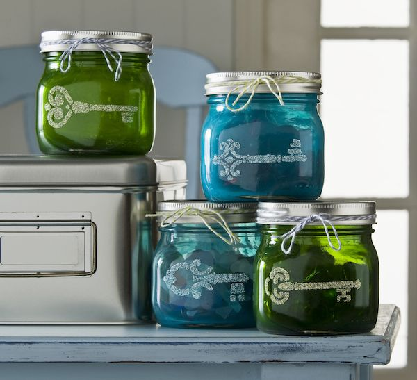 Mason jar storage with Sheer Colors and stencils