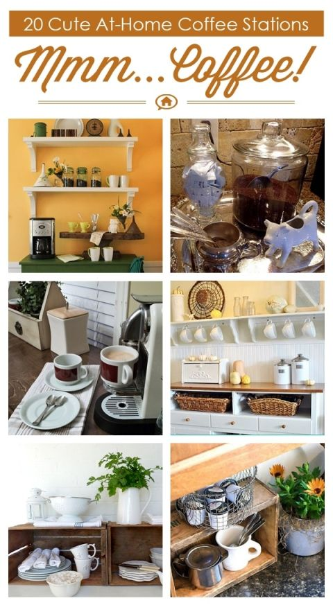 20 Cute At Home Coffee Stations via Hometalk, featured on http://www.funkyjunkinteriors.net/