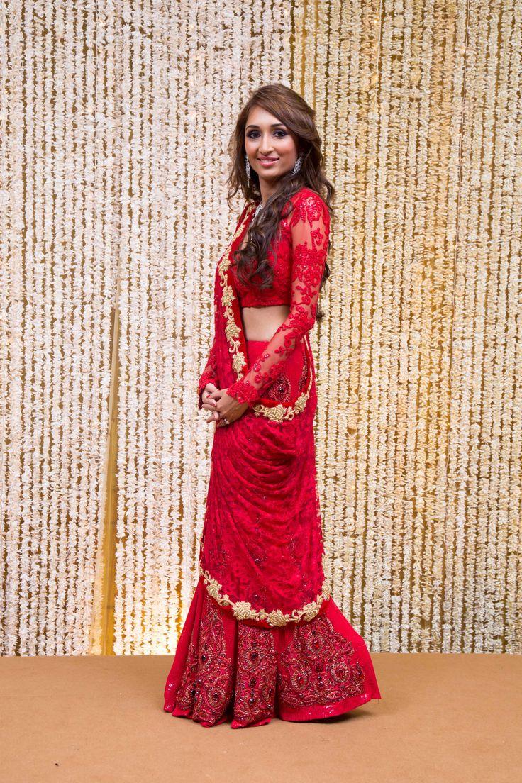 Bridal Lehenga & Wedding Trousseau | Red Lace Bridal Saree