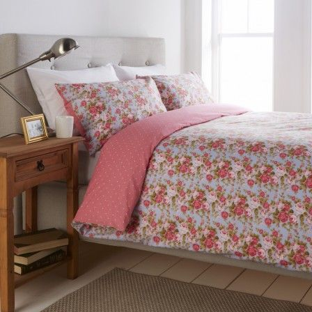 cotton duvet cover u0026 pillowcase set vintage style floral design in shades of blue pink u0026 green pretty spot reverse in pink u0026 white