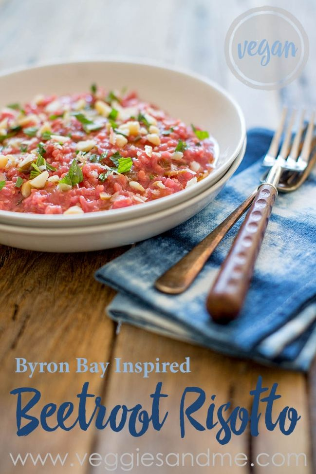 Simple vegan and gluten free Bryon Bay Inspired Beetroot Risotto with mint, leek and macadamia nuts.