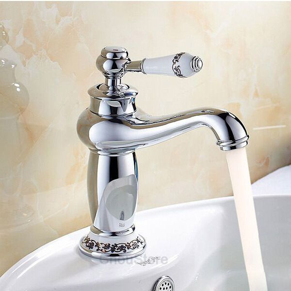 NEW Chrome Brass Porcelain Design Bathroom Basin Faucet Lavatory Sink Mixer Tap #JTEK