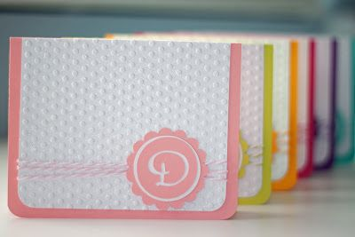 simple monogram card with polka-dot emboss