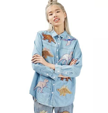 T-Rex Embroidery Denim Shirt Strapless Denim Bodycon Dress #urbanstreetzone #urbanstreetwear #urbanclothes #ootd #outfit #outfitoftheday #outfitinspiration #brand #boutique #outfitgrid #streetbeast #minimalism #streetfashion #highsnobiety #contemporary #dtla #gq #yeezy #losangeles #style #simplefits #pinfashion #pinterestfashion #denimshirt