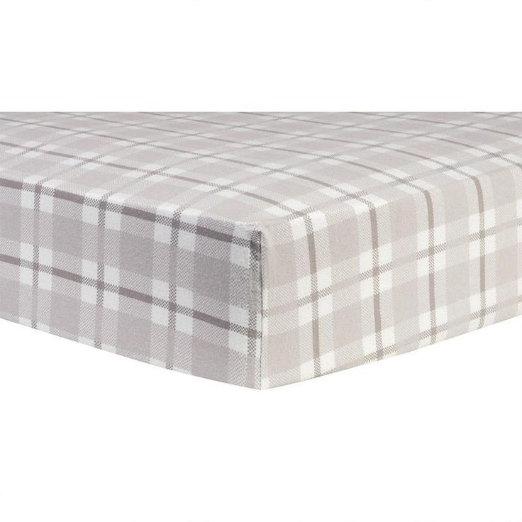 Gray And White Plaid Deluxe Flannel Fitted Crib Sheet