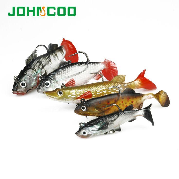 JOHNCOO 5 pcs/lot Appât Soft Tête de Plomb Poissons Leurres 7g/11g/14g/18g Bass Fishing Tackle Sharp Treble Crochet T Queue Pêche en Mer S'attaquer