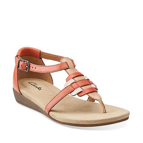 Qwin Adonia in Coral Leather - Womens Sandals from Clarks