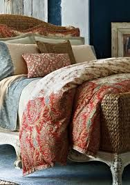 Image result for orange red cream paisley bedroom