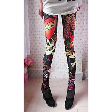 [BlackFridaySale]Women's Skull Print Elastic Leggings – USD $ 5.20